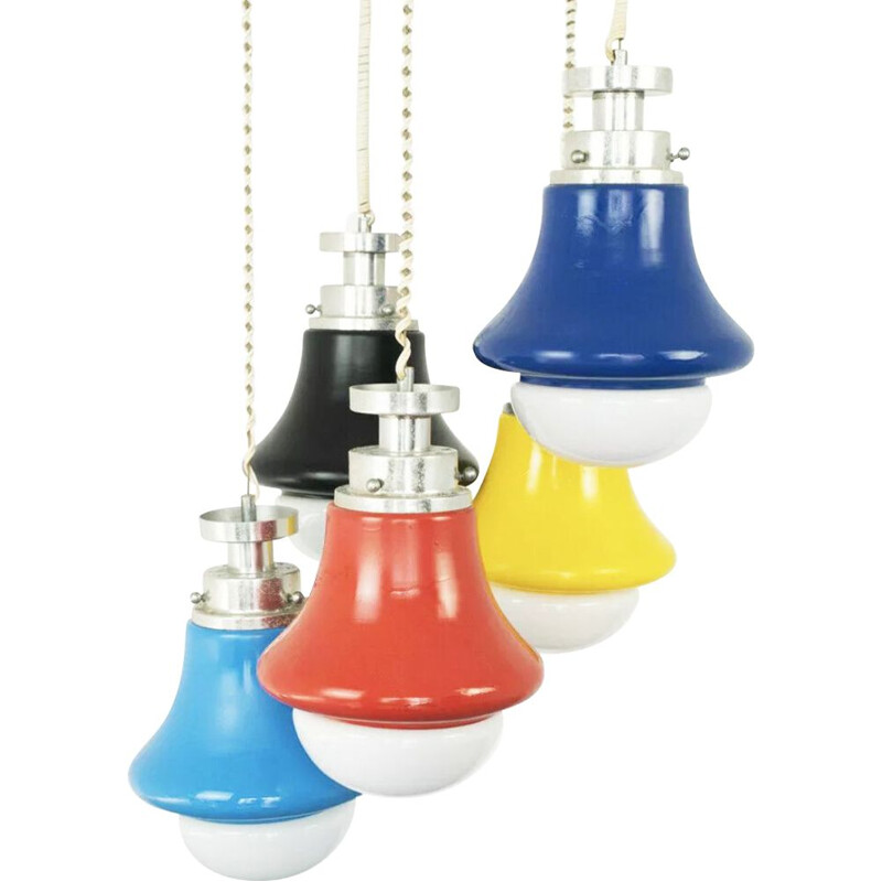 Vintage suspension chandelier 5 lights multicolor waterfall 1970