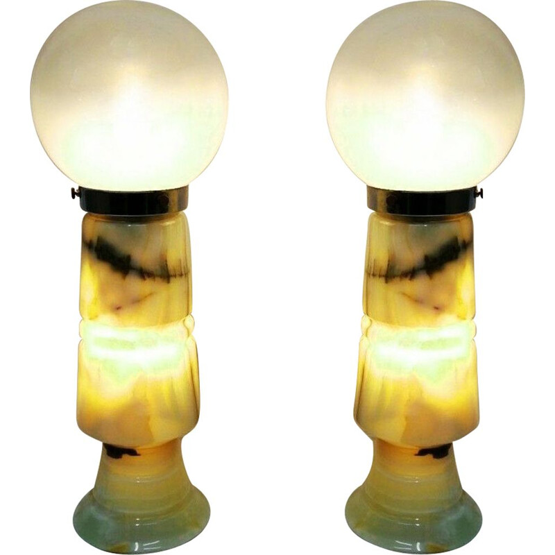 Large pair of vintage cut onyx and glass 1960s lamps