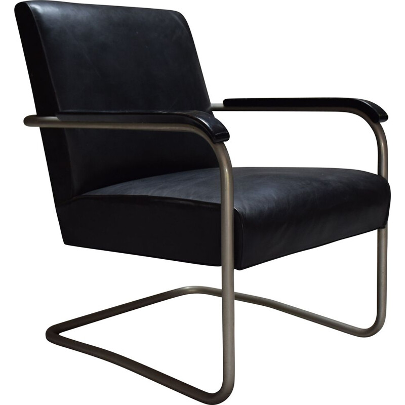 Vintage black leather armchair B36 by Marcel Breuer 1930