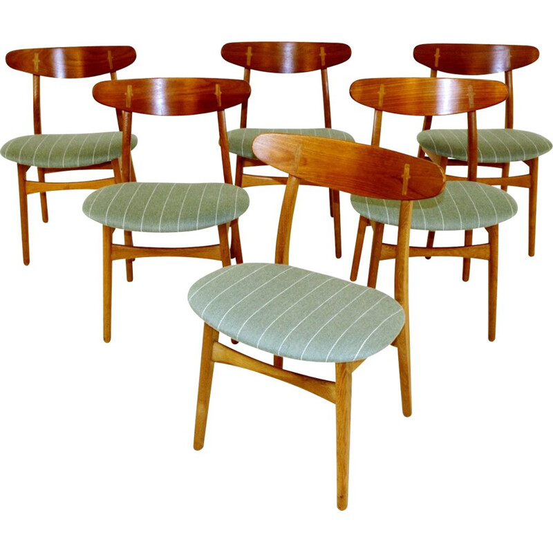 Set of 6 vintage chairs CH 30, Hans J Wegner, Denmark, 1960
