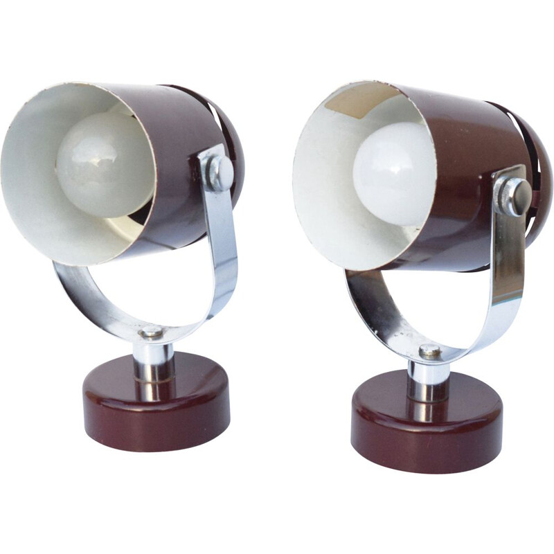 Pair of vintage futuristic lamps by S. Indra, Czechoslovakia, 1970s