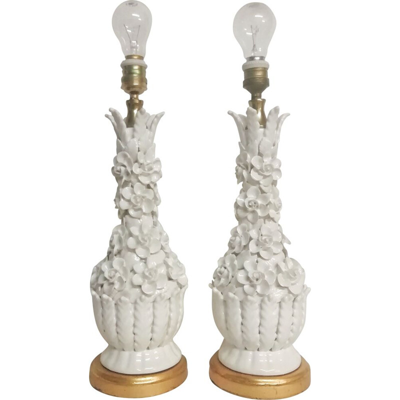 Pair of vintage Manises ceramic table lamps 1970