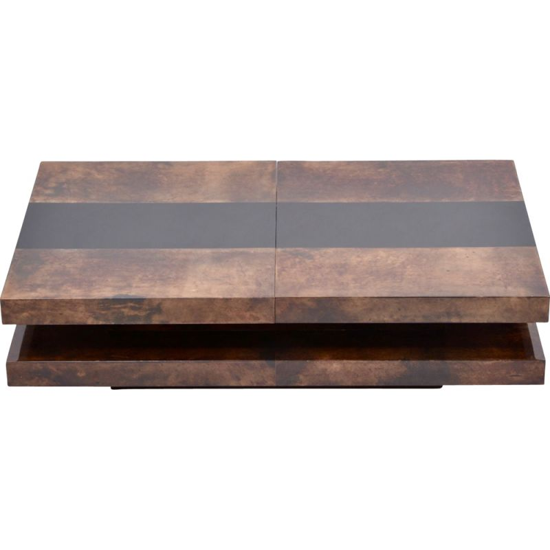 Vintage 2-tiered sliding coffee table Brown with hidden bar by Aldo Tura  Italian 1970