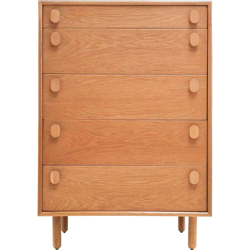 Vintage Blonde Oak Mid Century Chest of drawers by Meredew British