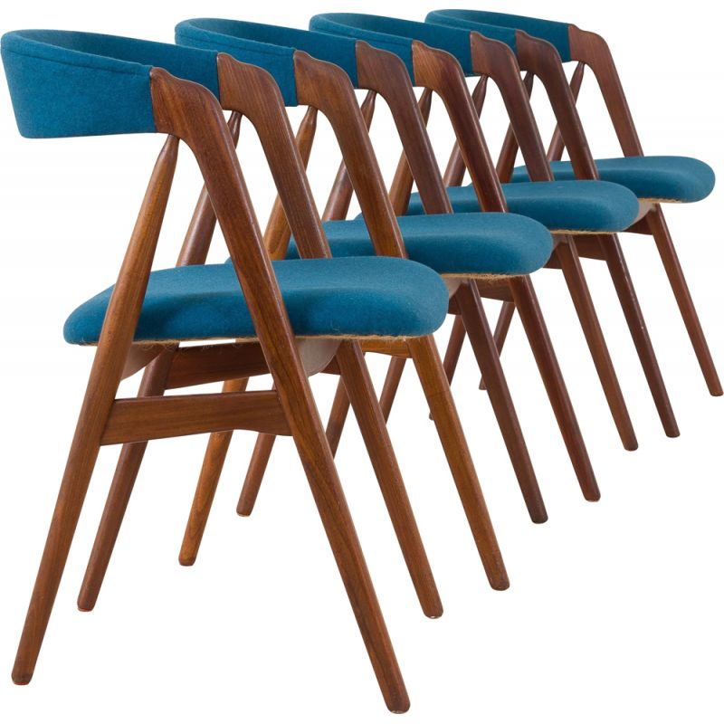 Set of 4 mid-century danish teak dining chairs by Th. Harlev 1950s