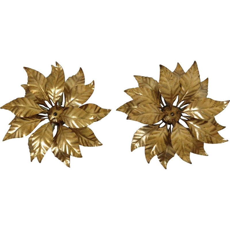 "Pair of  ""'Gold Leaf"" vintage flower sconces  1970"