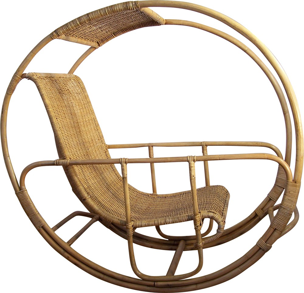 dondolo rocking chair in rattan and wicker franco bettonica 1964 design market. Black Bedroom Furniture Sets. Home Design Ideas