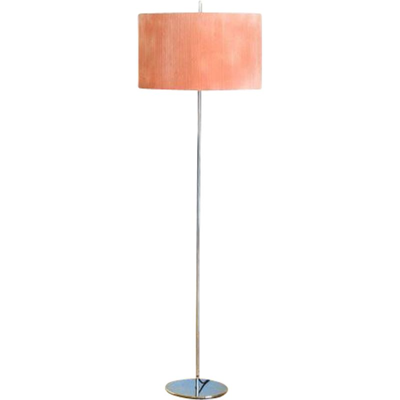 Vintage floor lamp on stand Fabric and chrome plated shade Spain 1970