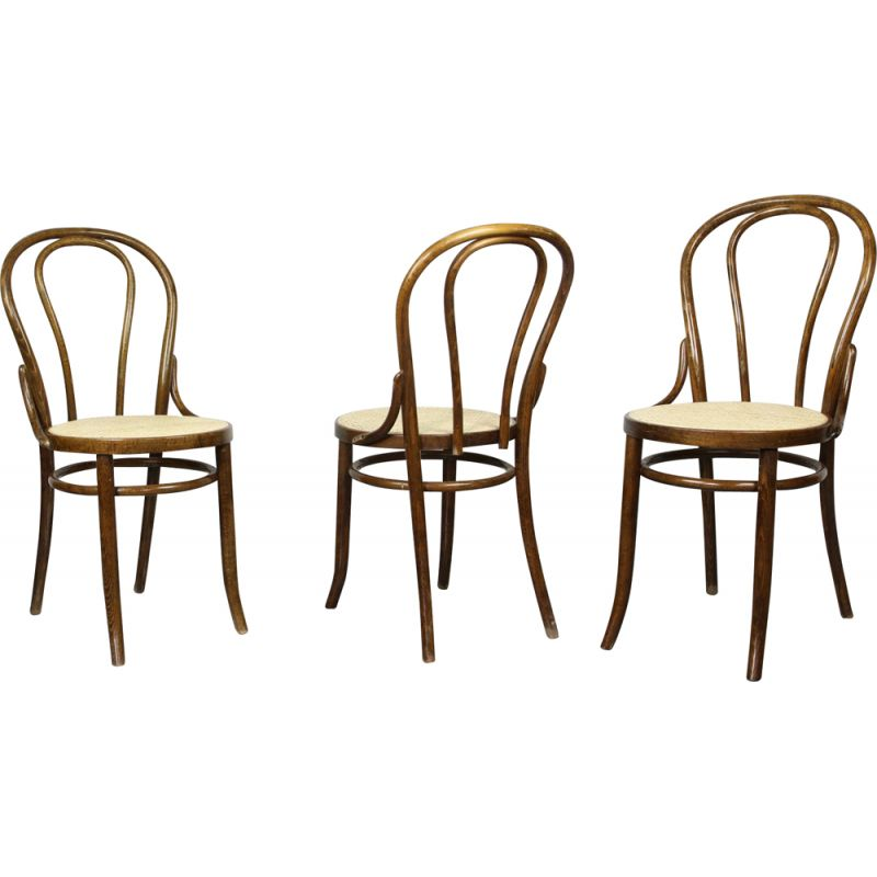 Set of 3 vintage N18 Brown Chair by Michael Thonet