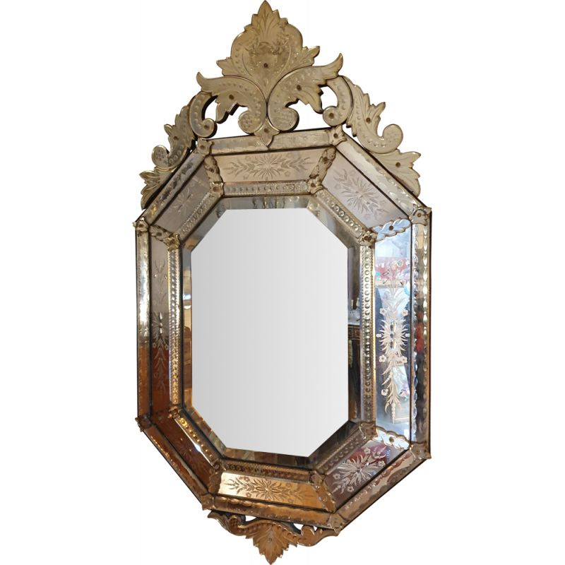 Large Vintage Venetian Mirror A Part Close And Beveled 20th
