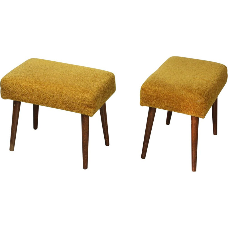 Pair of Mid-century Yellow Stools