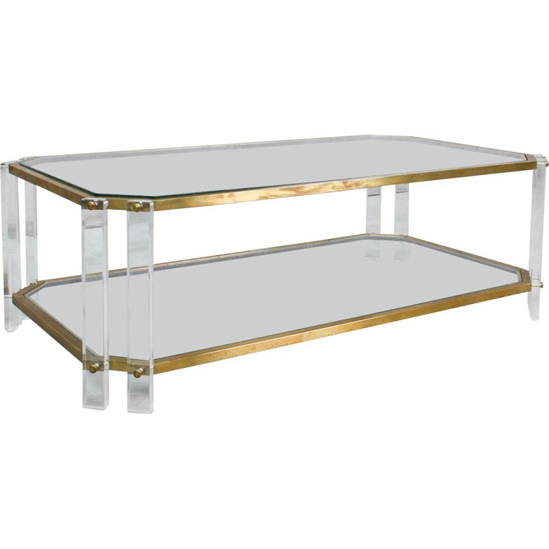 Vintage Brass and Acrylic Coffee Table, Italian 1970s