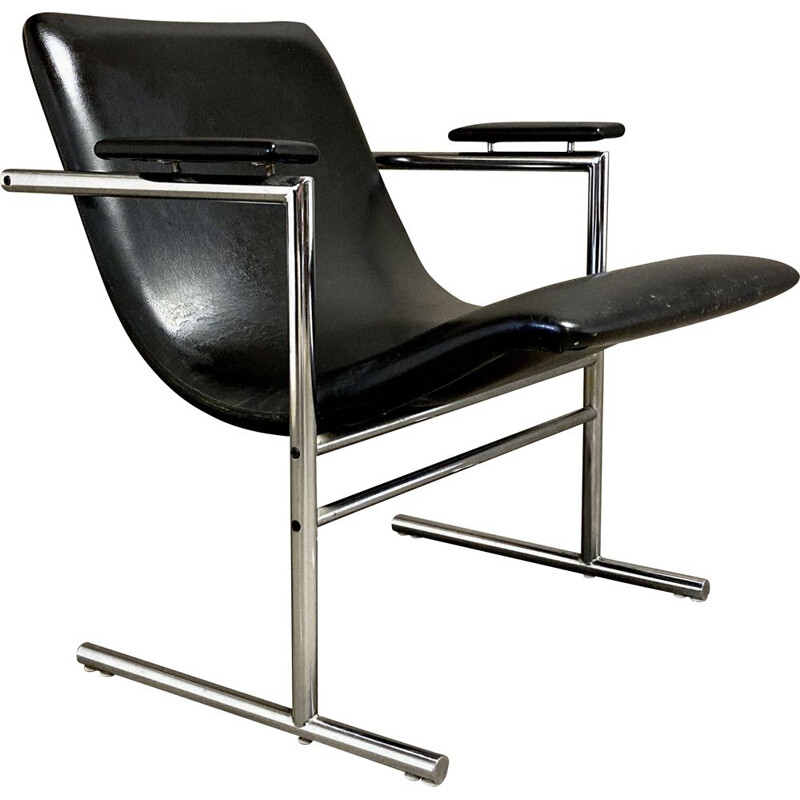 Vintage leather and chrome armchair 1960
