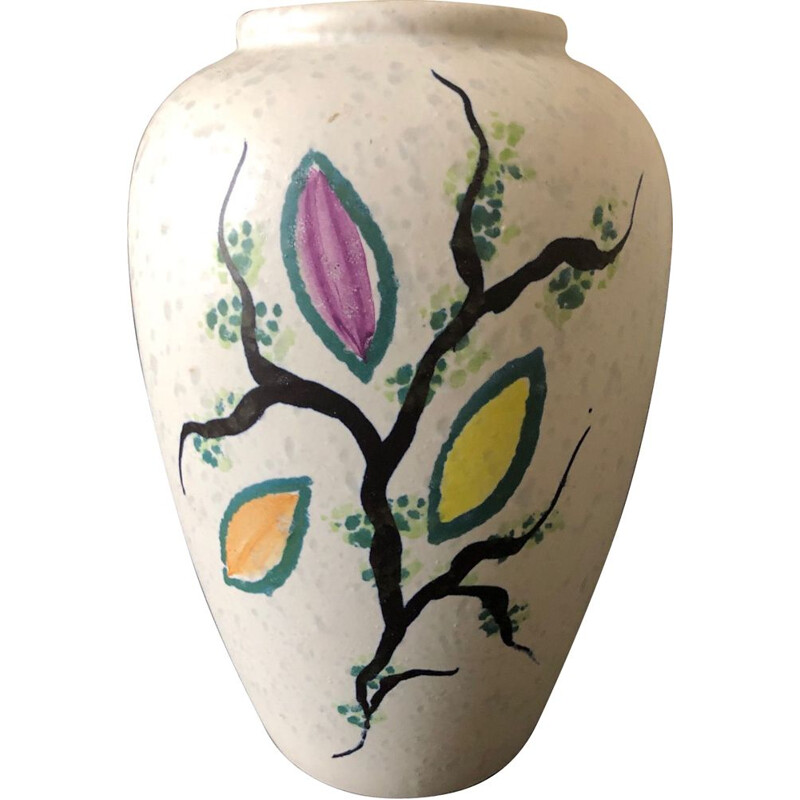 Vintage vase decorated with leaves 1950