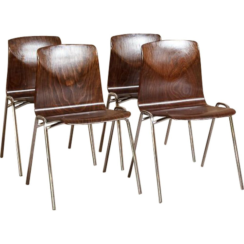 Set of 4 vintage Pagholz Pagwood Adam Stegner 1960 chairs