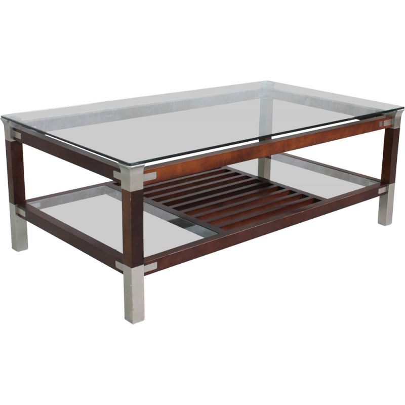 Vintage Coffee Table with Glass Top by Pierre Vandel, 1970s