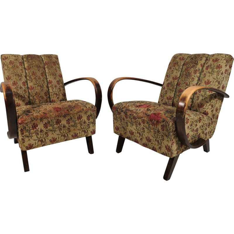 Pair of Vintage Armchairs by Jindřich Halabala, Art Deco 1950s