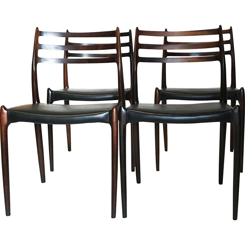 Set of 4 vintage chair Møller Model 78 rosewood, Niels Otto Møller 1962