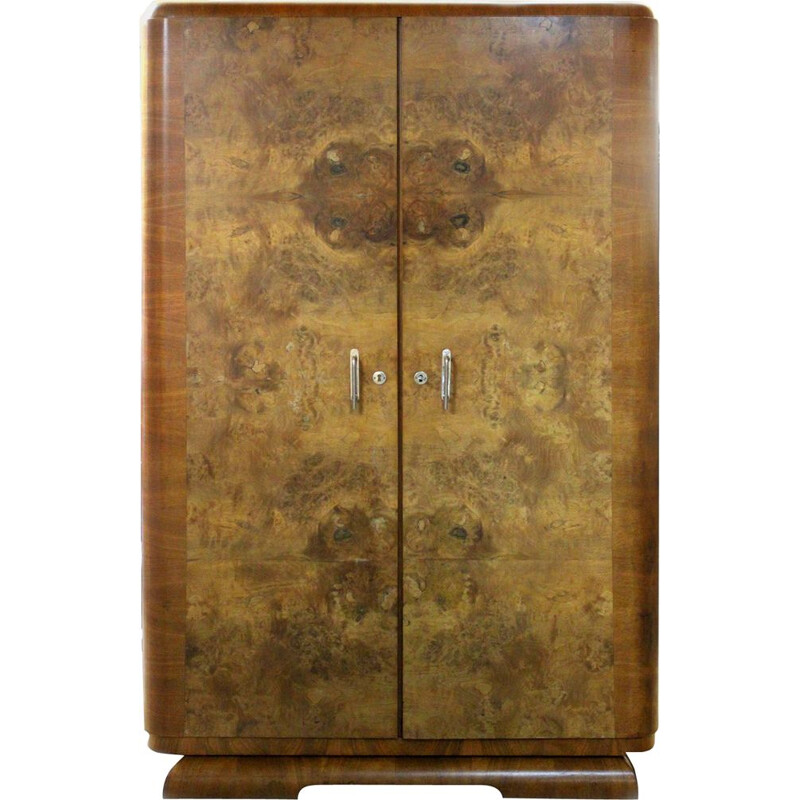 Vintage  Walnut Wardrobe Art Deco, 1940s