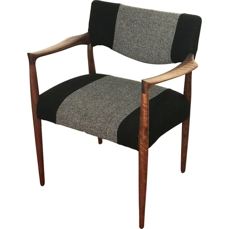 Rosewood Armchair with new black wool fabric, 1960s