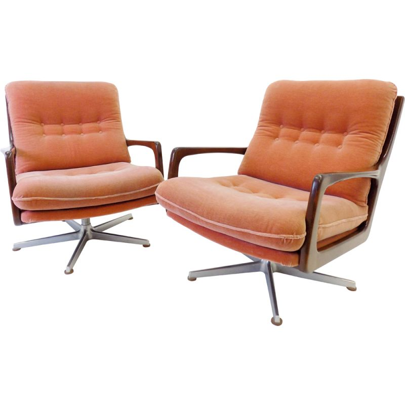 Pair of vintage mohair armchairs for Soloform Eugen Schmidt