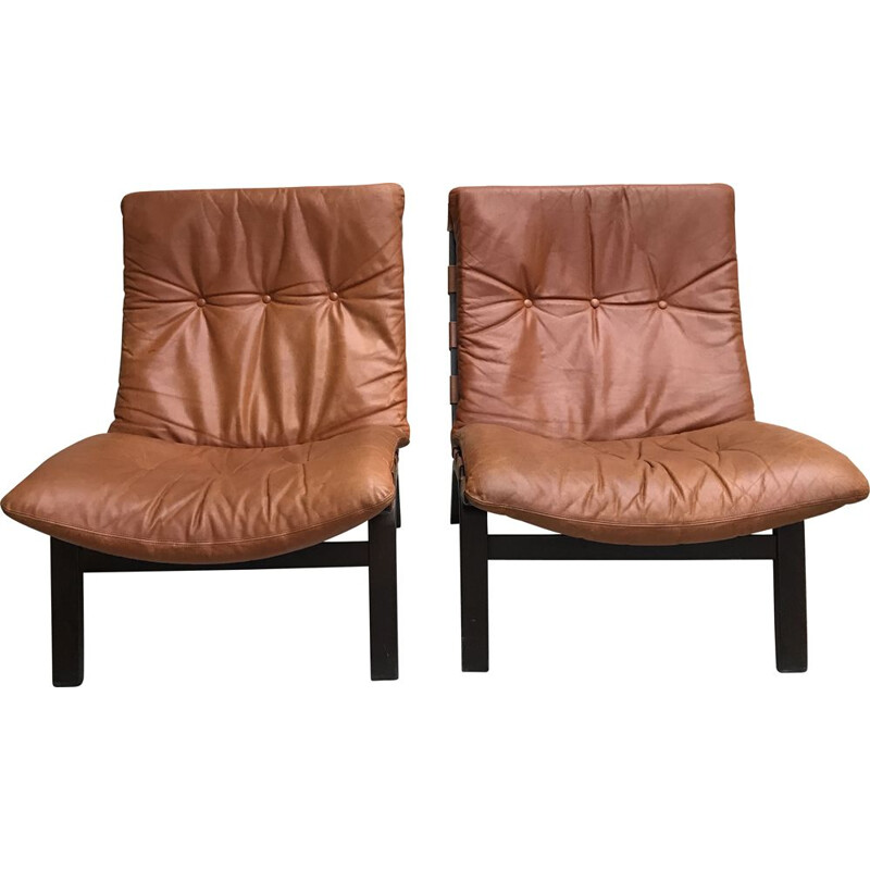 Pair of vintage scandinavian armchairs leather cognac 1960