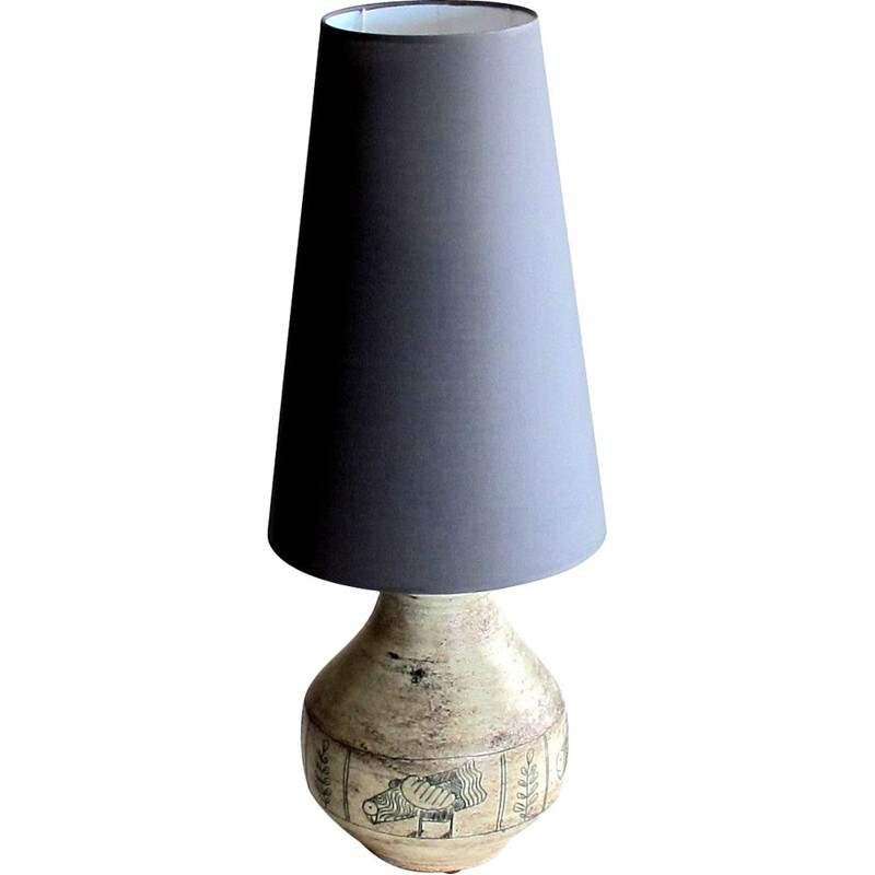 Large vintage ceramic lamp by Jacques Blin 1950