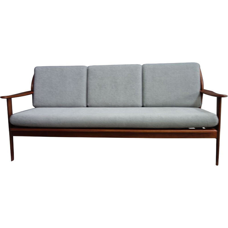 Vintage Teak and grey 3 seat sofa 1960s