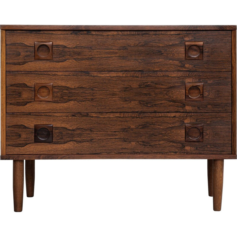 Midcentury chest of 3 drawers in rosewood with round drawer handles 1960s