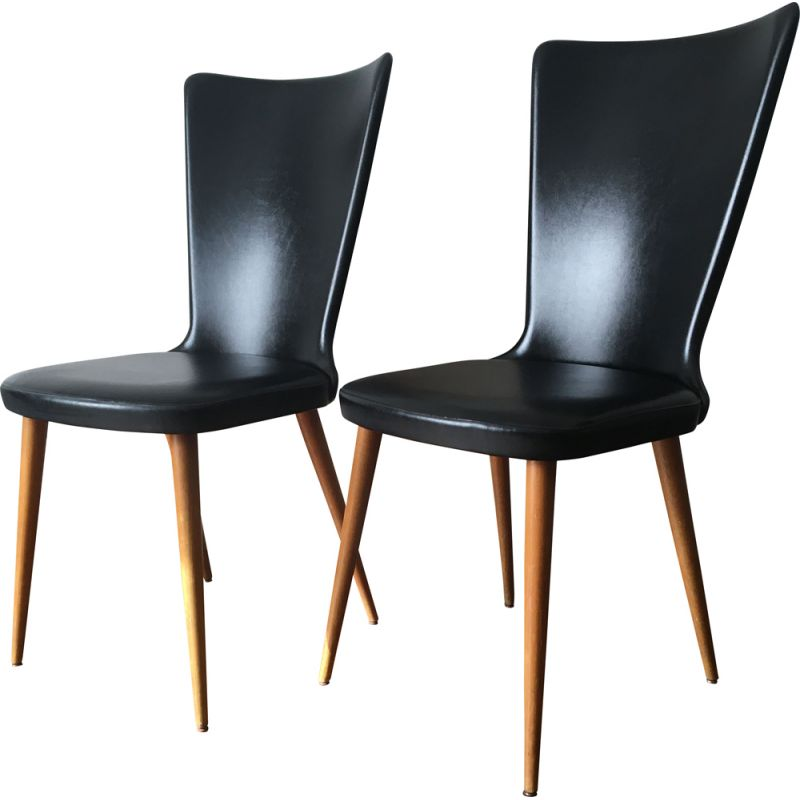 Pair of vintage wooden and skai chairs 1960