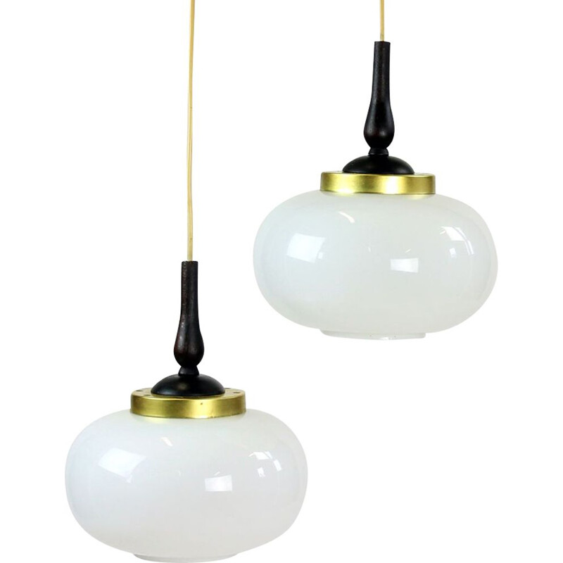 Midcentury Ceiling Light With Two Opaline Lights, Czechoslovakia 1960s
