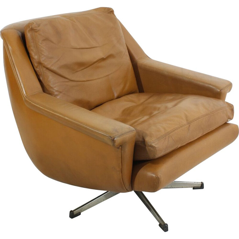 Mid-century leather lounge armchair 1970s