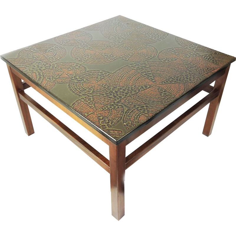 Vintage Decorative Metal Topped Coffee table, 1970s