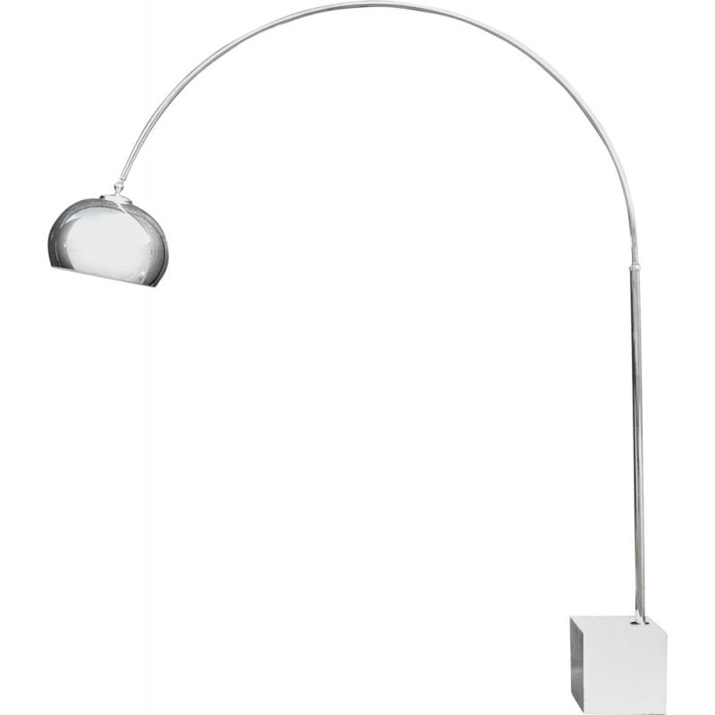 Vintage Chrome Arc Lamp with Marble Base, by Guzzini, 1970s