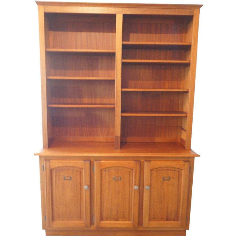 Vintage wooden notary's bookcase 1950
