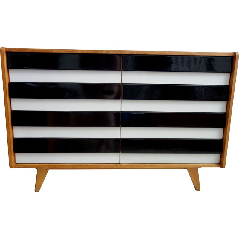Vintage sideboard Jiroutek black and grey 1960s