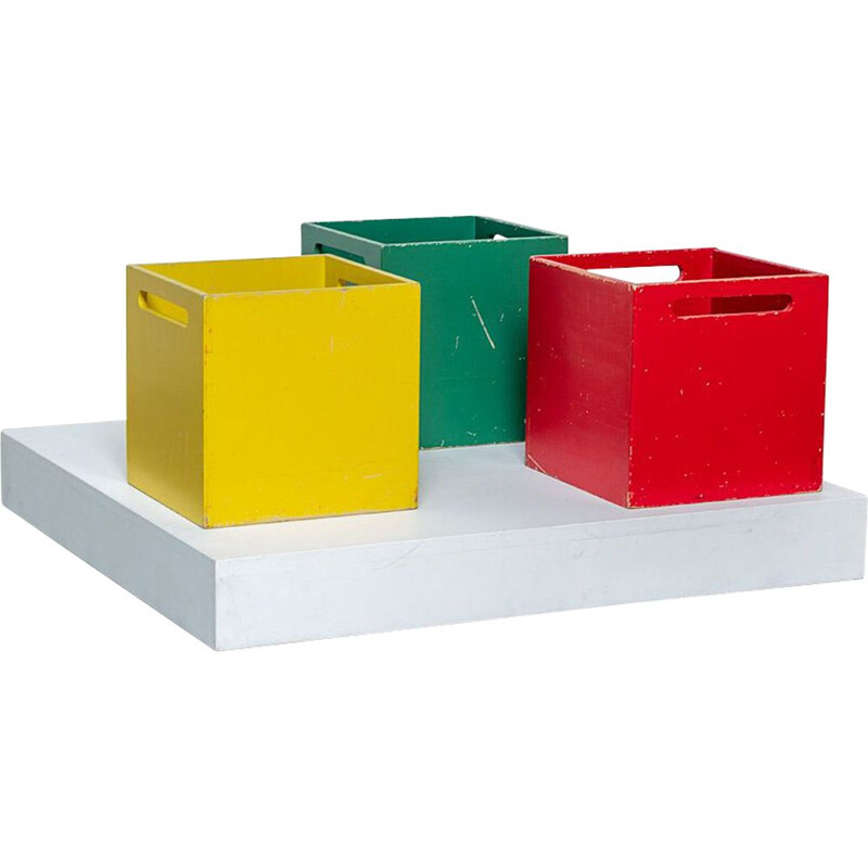 Set of 3 vintage square wooden storage boxes in the manner of De stijl