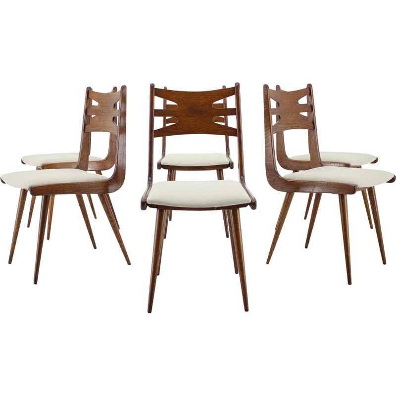 Set of 6 vintage Oak Dining Chairs, Czechoslovakia 1960s