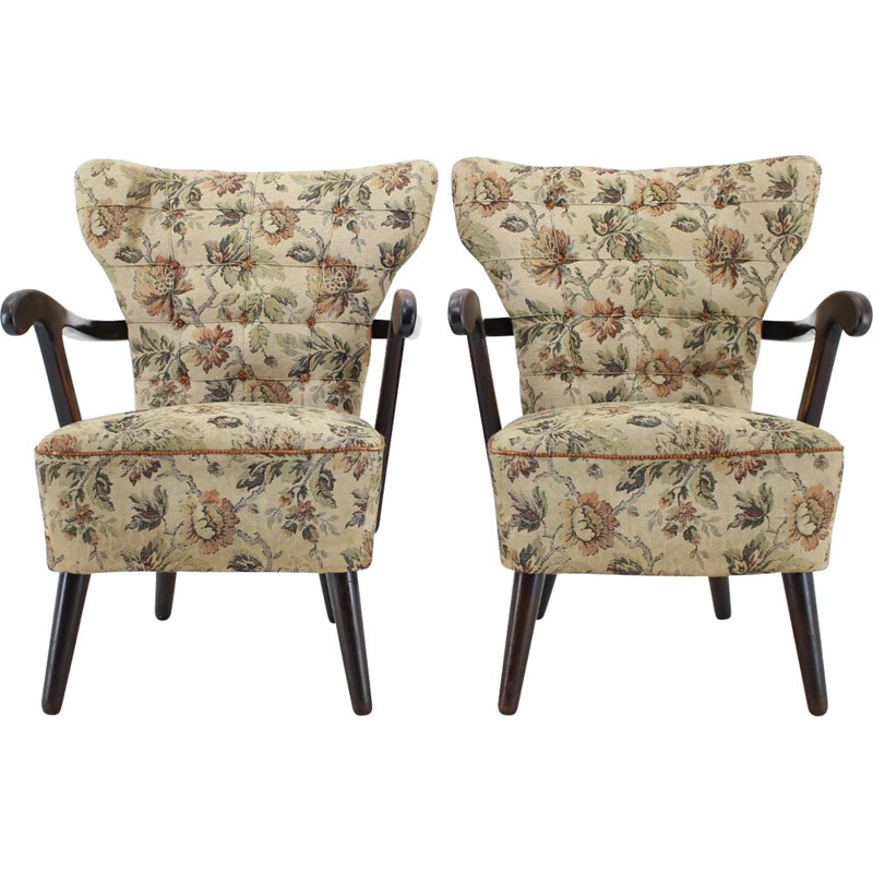 Pair of vintage Armchairs, Czechoslovakia 1940s