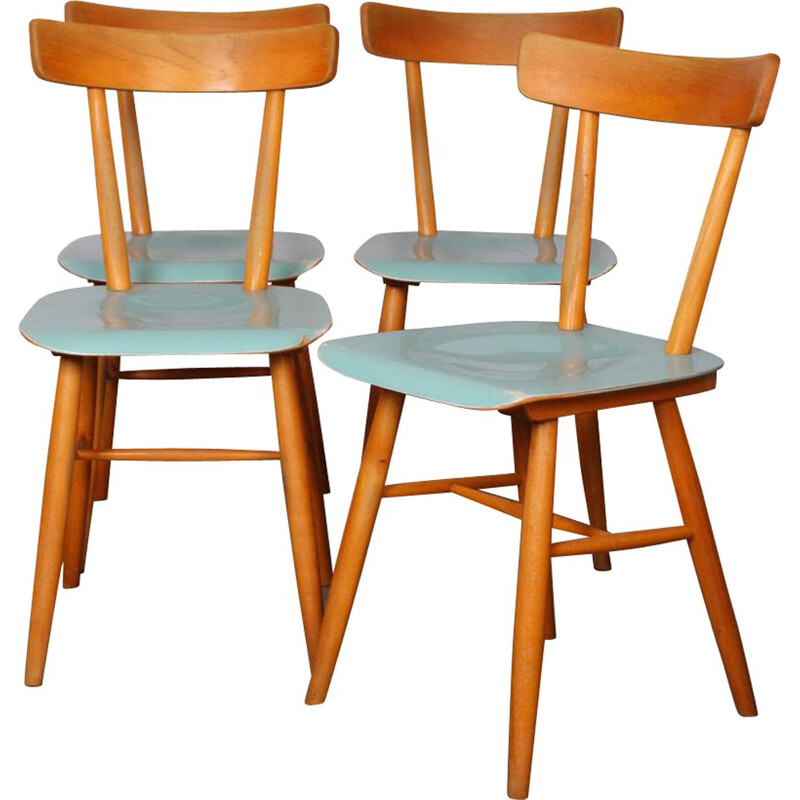 Set of 4 vintage wooden chairs by Ton 1960