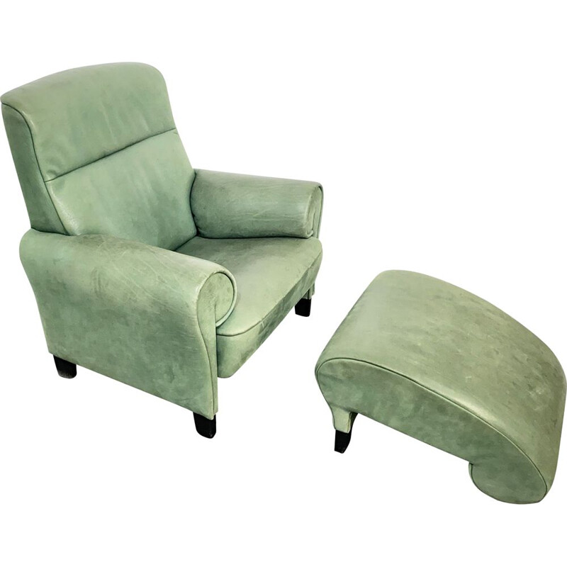 Vintage Armchair, Lounge Chair with Ottoman DS-90, green Leather, by Anita Schmidt for De Sede, Switzerland, 1992.