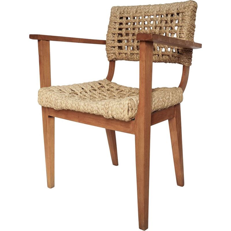 Vintage wooden and rope armchair Audoux Minet