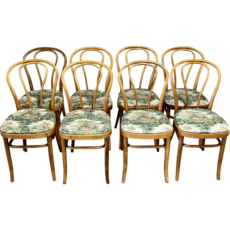 Set of 8 vintage beech bistro chairs 1950