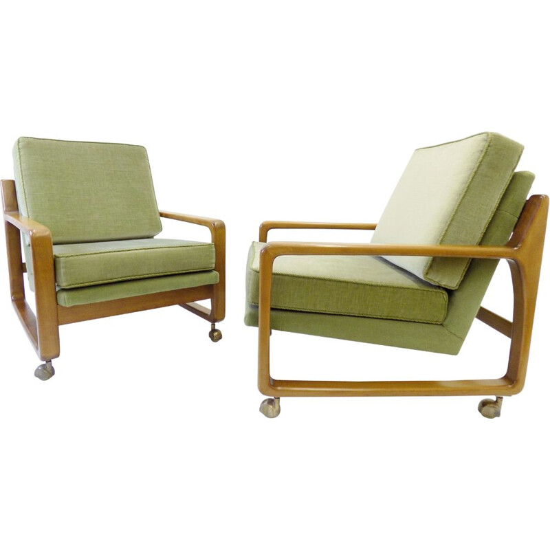 Pair of vintage green mid century velor armchairs 1960s