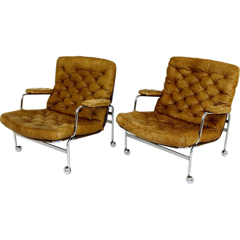 "Pair of vintage armchairs ""Karin"" model 73, Bruno Mathsson, Sweden 1970"