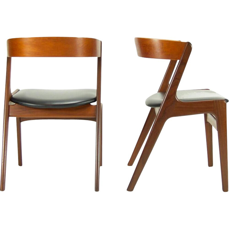 Pair of vintage Kai Kristiansen teak and black leatherette chairs 1960