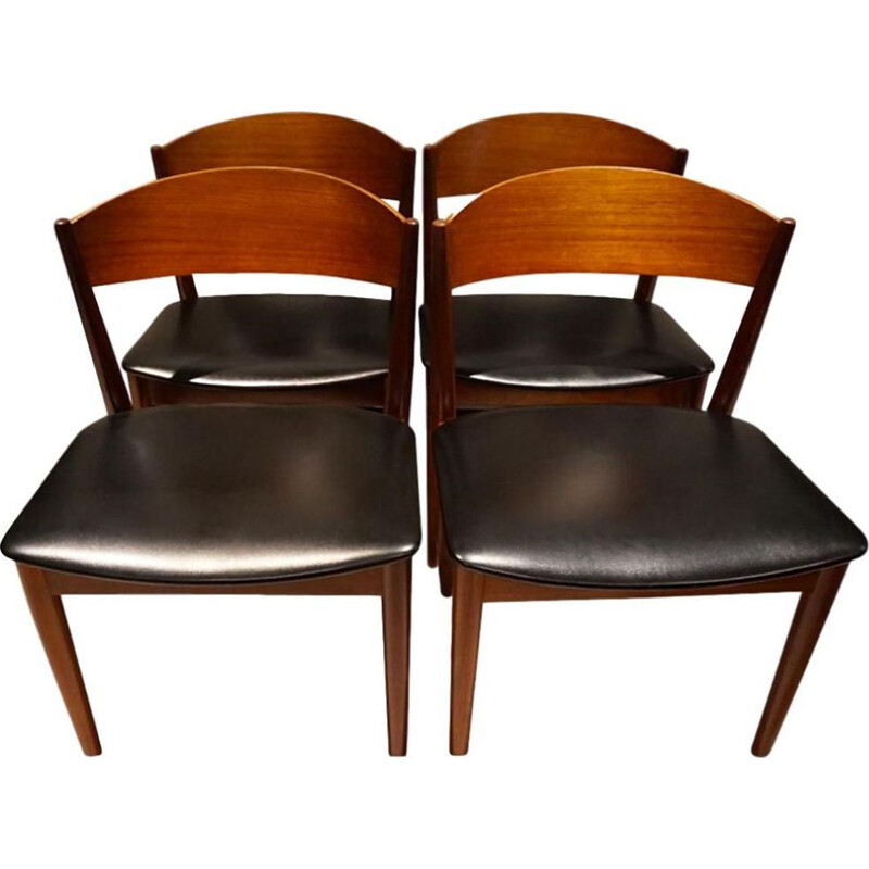 Set of 4 vintage Jysk Mobelfabrik Scandinavian chairs 1960