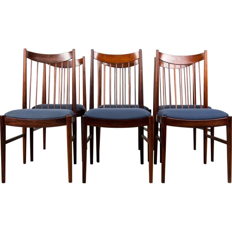 Set of 6 vintage Rio Rosewood chairs by Arne Vodder for Sibast Danes 1960