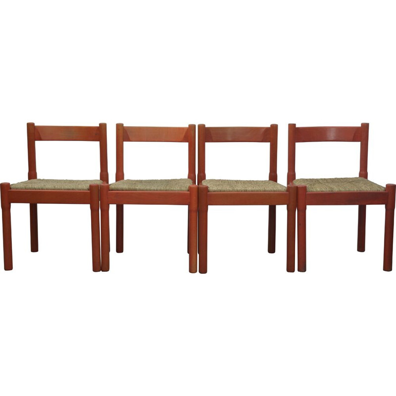 Set of 4 vintage Red Carimate Chairs by Vico Magistretti