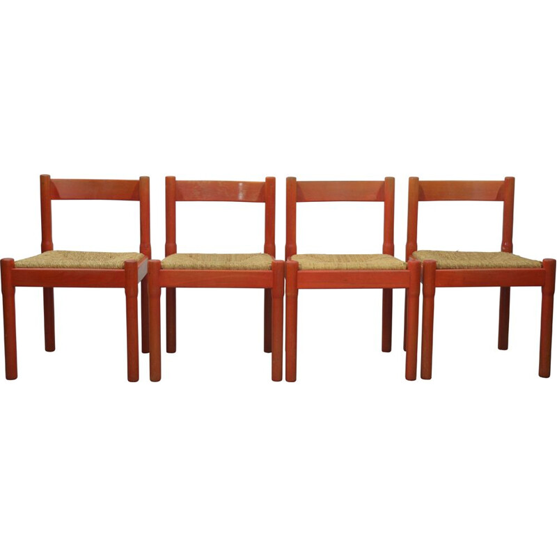 Set of 4 vintage Red Carimate Dining Chairs by Vico Magistretti